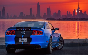 Picture water, sunset, city, the city, mustang, ford, shelby, water, gt500, skyscrapers