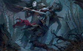 Wallpaper Prince Mstislav, warrior, Andrew Kosinski, sword, zombies