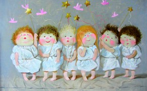Picture children, stars, birds, Gapchinska