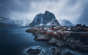 Picture mountains, rocks, Norway, the village, the fjord, The Lofoten Islands