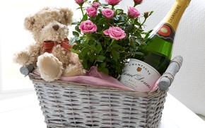 Picture flowers, basket, bottle, roses, bouquet, bear, champagne, plush