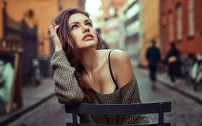 Picture girl, long hair, photo, photographer, blue eyes, model, chair, lips, face, brunette, portrait, mouth, sweater, …