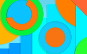 Wallpaper yellow, circles, blue, material, color, green, design, abstraction