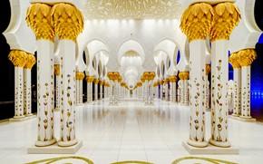 Wallpaper columns, Abu Dhabi, The Sheikh Zayed Grand mosque, UAE, architecture
