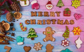 Picture New Year, cookies, Christmas, wood, Merry Christmas, cookies, decoration, gingerbread, gingerbread, holiday celebration
