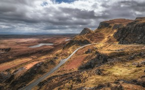 Picture road, clouds, mountains, Scotland