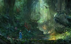 Picture green, light, sake, girl, fantasy, forest, trees, flying, jungle, nature, wood, flowers, child, digital art, …