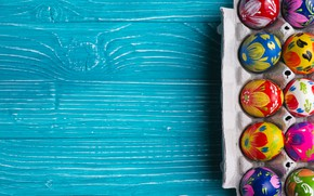Picture paint, spring, colorful, Easter, wood, Easter, Happy, the painted eggs