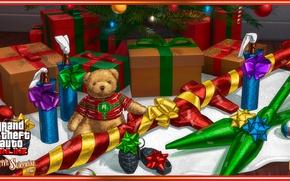 Picture gun, game, bear, weapon, GTA, teddy bear, christmas tree, gifts, RPG, Grand Theft Auto, Rockstar …