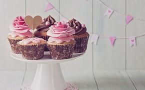 Picture chocolate, heart, vintage, cream, pink, retro, decor, cupcakes, cupcakes, birthday cake, decoration rose
