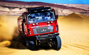 Picture Sand, Red, Sport, Truck, Race, Cabin, Rally, Rally, The front, The roads, Dune, MAZ, Silk …