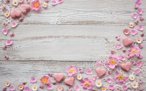 Picture flowers, chamomile, petals, hearts, heart, pink, decor, decoration, marzipan