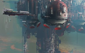Picture the city, transport, facilities, Strike Vector research, Flying cities