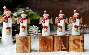 Picture holiday, new year, candles, angels, decor