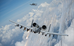 Picture clouds, attack, A-10, Thunderbolt II
