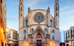 Picture lights, home, the evening, area, lights, Church, temple, architecture, Spain, Barcelona, Santa Maria del Mar, …