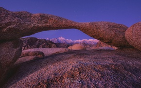 Picture the sky, night, rocks, arch