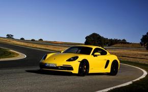 Picture yellow, lawn, track, Porsche, turn, roadside, 2017, 718 Cayman GTS