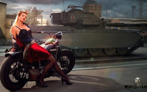 Picture Centurion Action X, British, tank, girl, figure, World of Tanks, the city, motorcycle, average, road, ...
