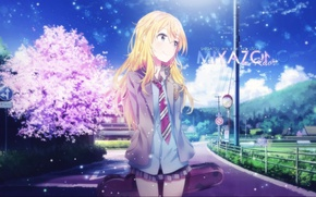 Picture anime, sunny day, sakura, blue sky, cute, particles, miyazono kaori, your lie in april