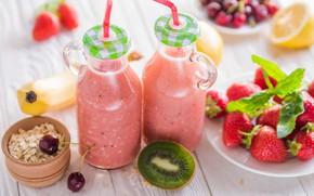 Picture cherry, lemon, kiwi, strawberry, drink, smoothies
