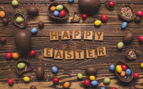 Wallpaper candy, chocolate, colorful, wood, Easter, Easter, chocolate, happy, sweets, holiday, writing, eggs
