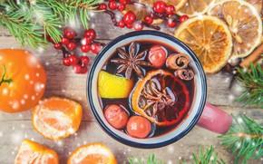 Picture tea, new year, drink, cinnamon, carnation, slices, Mandarin
