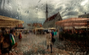 Picture girl, umbrella, Tallinn, summer rain