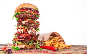 Picture package, meat, white background, pepper, sandwich, vegetables, hamburger, fast food, French fries