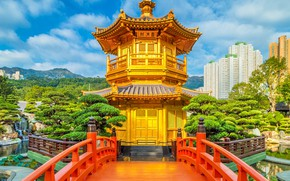 Picture the sky, the sun, clouds, trees, mountains, pond, Park, stones, home, Hong Kong, China, pagoda, …