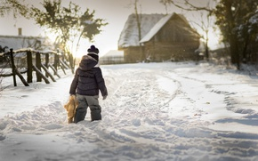 Picture winter, snow, toy, boy, village