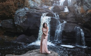 Picture girl, waterfall, dress