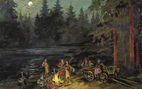 Picture forest, landscape, night, picture, the fire, Konstantin Korovin, Gypsies by the River. Yaroslavl Province