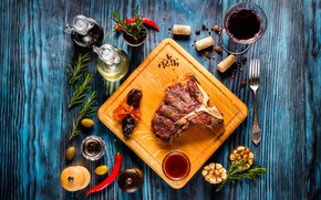 Picture glass, wine, glass, meat, tube, Board, pepper, plug, still life, the view from the top, …