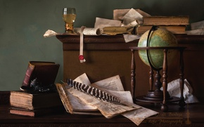 Wallpaper glass, globe, paper, books, still life, pen