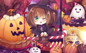 Picture anime, art, girl, pumpkin, Halloween