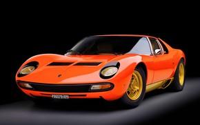 Picture Auto, Lamborghini, Machine, Orange, Eyelashes, 1971, Lights, Car, Supercar, Lamborghini Miura, P400, SVJ, Lamborghini Miura …