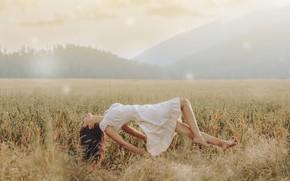 Picture field, girl, dress, levitation