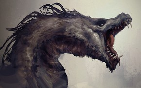 Picture dragon, monster, fangs, horror