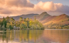 Picture clouds, mountains, lake, house, England, Cumbria, Keswick
