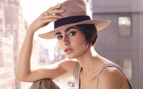 Picture look, pose, model, hat, makeup, advertising, Mike, actress, brunette, hairstyle, beauty, photoshoot, pants, brand, Lily …