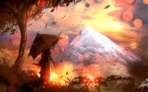 Picture girl, fantasy, trees, landscape, sunset, umbrella, mountains, leaves, painting, artist, artwork, fantasy art, painting art, ...