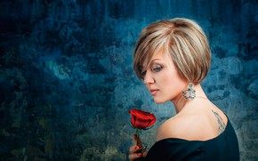 Picture flower, girl, red, background, rose, portrait, earrings, makeup, dress, tattoo, hairstyle, blonde, beautiful, in black, …