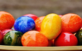 Picture colorful, Easter, rainbow, Easter, eggs, decoration, Happy, the painted eggs