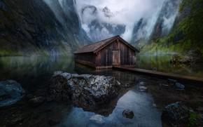 Wallpaper mountains, house, lake, Germany