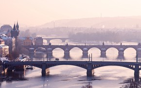 Wallpaper bridges, Prague, Czech Republic, winter, fog, Vltava, river