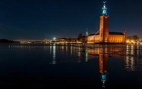 Picture water, night, bridge, lights, reflection, river, lights, Stockholm, Sweden, promenade