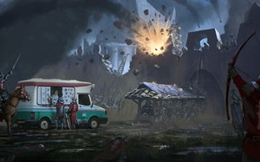 Picture the explosion, fortress, car, siege, Ice Cream Break