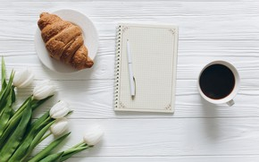 Picture flowers, Coffee, handle, Notepad, Croissant