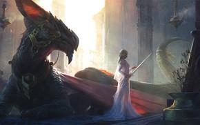 Wallpaper girl, sword, fantasy, dress, weapon, wings, tail, dragon, blonde, digital art, Princess, artwork, fantasy art, ...
